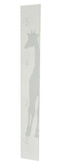 Grey Giraffe Silhouette White Wood Nursery Growth Chart