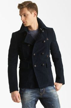 Dsquared2 Double Breasted Peacoat, Crewneck Sweater & Slim Fit Jeans | Nordstrom