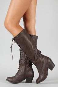 Qupid Rush-24 Military Lace Up Knee High Boot