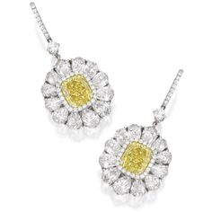 earrings | sotheby's n09400lot8hmnwen ❤ liked on Polyvore featuring jewelry, earrings, cushion cut earrings, canary yellow diamond earrings, fancy yellow diamond earrings, floral jewelry and fancy jewelry