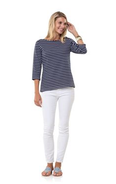 f10912feef3c9 Sail to Sable Navy White Top it Off Pullover Top