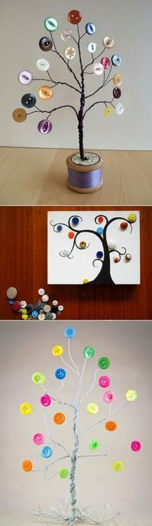 DIY Tabletop Button Tree I have one made with wooden spool base.and use it to hang/organize/display my rings Fun Crafts, Diy And Crafts, Crafts For Kids, Arts And Crafts, Diy Projects To Try, Craft Projects, Button Tree, Creation Art, Diy Buttons