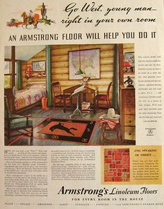 vintage armstrong floor | Original vintage magazine print ad for Armstrong's Linoleum Flooring ...