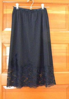 Vintage Lingerie Nylon Slip, Vanity Fair Half Slip,Navy Blue Half Slip