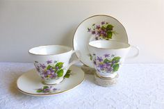 Two Vintage Crown Trent Bone China Teacup Duos, Violets, Greenery, Gilding. Made in England. Perfect for a Vintage Tea Party or Styling Prop by VintageTeaTreasures on Etsy