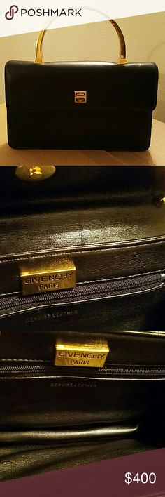 GIVENCHY Black, Leather Purse, 9 inches wide, 1 inch in depth, 5.7 inches tall. No pay pal, no holds. FIRM PRICE. NO GMAIL. POSHMARK ONLY PURCHASES. Givenchy Bags Mini Bags