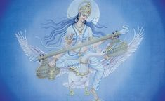 Hindu Goddesses : Saraswati - Goddess of knowledge, music and creative arts - with free wallpaper, online mantra and many paintings Hindus, Hare Krishna, Saraswati Painting, Saraswati Goddess, Durga, Saraswati Photo, Saraswati Mata, Indian Baby Names, Goddess Names