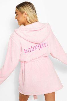 Womens Babygirl Embroidered Robe - Pink - S Bridal Squad, Satin Kimono, Sleepwear Women, Kimono Fashion, Fashion Face, Pajama Set, Boohoo, Lounge Wear, Night Out