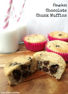 Flourless Chocolate Chunk Muffins - Low Carb Lovelies