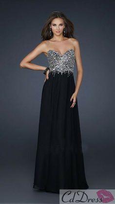 Sheath Sweetheart Sequins and Chiffon Long Prom Dress