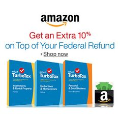 Amazon Turbo Tax Promo : Get 10% more on Top of Your Federal Refund http://www.mybargainbuddy.com/amazon-turbo-tax-promo-get-10-more-on-top-of-your-federal-refund