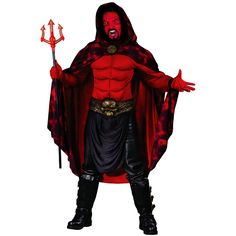 You'll be ready to have a sinfully good time wearing this men's devil costume. This Lord Lucifer Adult Costume includes a hooded cloak, a long-sleeved red muscle shirt, a sculpted skull belt, red gloves, and black buckle boot tops. Just add some red cream make-up to paint your face, a pitchfork, and a pair of black pants to complete your Satan look and get ready to raise some Hell this Halloween.