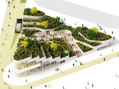 NL Architects Dream Up a Supermarket Topped with a Lush Park for China., NL Architects Dream Up a Supermarket Topped with a Lush Park for China. NL Architects Dream Up a Super Market Topped With a Lush Park for China Architecture Durable, Architecture Antique, Architecture Résidentielle, Sustainable Architecture, Sustainable Design, Contemporary Architecture, Futuristic Architecture, Parking Plan, Parks