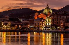 Stock Photo - Partial sunset view of the port of Mytilene town, capital of Lesvos island, Northern Aegean, Greece Golden Hour, Taj Mahal, Greece, Around The Worlds, Europe, Island, Stock Photos, Sunset, Mansions
