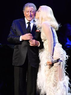 "Grammy Week 2015 - Lady Gaga and Tony Bennett perform onstage in support of their award winning album ""Cheek To Cheek"" at The Wiltern on February 8, 2005 in Los Angeles, California."