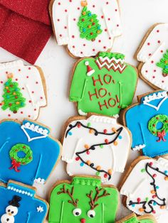 Vanilla Spice Ugly Christmas Sweater Cookies - these are actually adorable and a fun, unique addition to your holiday festivities! Made with a buttery vanilla and anise-infused spiced cookie dough. Christmas Goodies, Christmas Desserts, Holiday Treats, Christmas Treats, Christmas Baking, Christmas Recipes, Christmas Holiday, Christmas Windows, Winter Treats