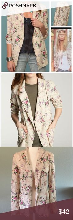 "Free People floral linen blend blazer Pretty floral light linen blend blazer.  Slanted pockets, two decorative pockets on each side in the middle, buttons on each side in the front, cut a bit longer in the front. Super cute and can be dressed up down.  Cream color with pink, purple and yellow flowers.  Size medium - approximate measurements 18"" armpit to armpit, 24"" length, 25"" sleeves top of shoulder down, shoulders 16"". Free People Jackets & Coats Blazers"