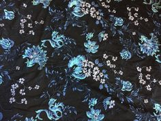 Embroidered Lace Tulle with Floral Explosion of Light Blues, Turquoise, Mauve, Price is per Yard, 58 inches wide by PromenadeFabrics on Etsy