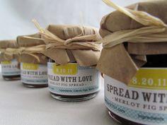 Mason jar wedding favors.  you could do grandmas strawberry jam...yummm
