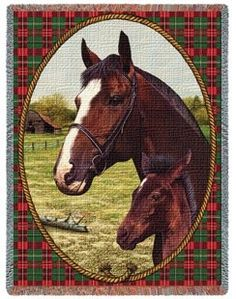 """Cheval #Thoroughbred Woven #Tapestry #Throw - www.MyAnimalBlankets.com - A portrait of classic equestrian culture, this 54"""" x 70"""" throw blanket displays intricately detailed cheval thoroughbreds relaxing in a summer meadow. Woven from a variety of 100% cotton threads, its durable enough to last for years and years yet cleans easily. Machine wash cool water delicate cycle, tumble dry low heat."""