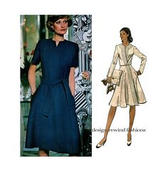 1970s Vogue 1121 VOGUE COUTURIER DESIGN Sybil Connolly DRESS PATTERN Mock Wrap Fit & Flare Dress at DesignRewindFashions Vintage & Modern Sewing Patterns on Etsy