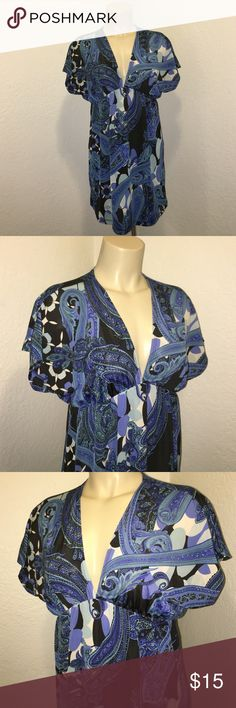 Charlotte Russe Blue Paisley Floral Slip Dress Super chic vneck paisley floral slip dress. Very deep vneck cut. Sexy and stylish! Perfect for all occasions! No damage. Size Large. Brand: Charlotte Russe Charlotte Russe Dresses Mini