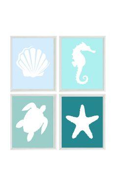Beach Nautical Art Print Set Blue Aqua by RizzleandRugee