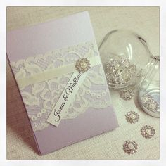 60 x Lilac & Ivory Vintage Lace Wedding by StunningStationery, $510.00