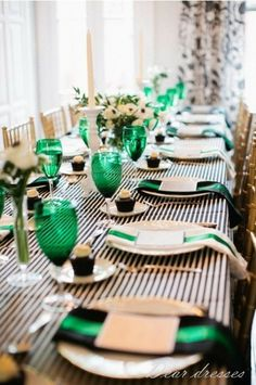 Love it for a green/black wedding - just grab a b&w striped tablecloth.