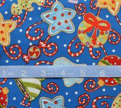 Christmas Fabric-Christmas Ornaments on Royal Blue Fabric, Christmas Wreath and Star Fabric, Cotton Yardage, Fat Quarter, By The Yard