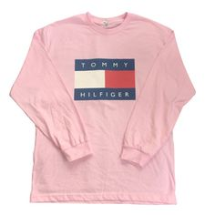 Pink Tommy Hilfiger Logo Long Sleeve Tshirt by COOL2THEIDEA