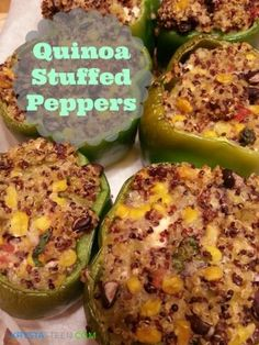 Quinoa stuffed peppers. I think I will add in ground turkey, no green chilis.... just change it up a bit!