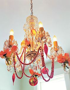 Orange and Pink Christmas Chandelier. Could do this with any color combo. Chandelier Lamp Shades, Chandelier Ideas, Beaded Chandelier, Christmas Chandelier, Mardi Gras Beads, Hanging Garland, Deco Boheme, Christmas Decorations, Holiday Decor