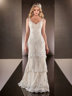 Straps Dramatic V-neck Lace Over Wedding Dresses with Layered Scalloped Skirt