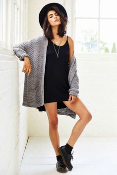 oversized cardigan, black slip dress, ankle doc martens, black hat