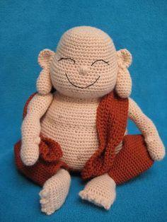 Ravelry: Laughing Buddha Amigurumi Monk Doll pattern by Millionbells Kawaii Crochet, Cute Crochet, Crochet Crafts, Crochet Projects, Amigurumi Doll, Amigurumi Patterns, Doll Patterns, Crochet Patterns, Knitted Dolls
