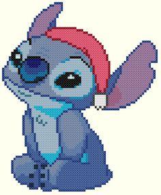 Punto De Cruz Christmas Stitch Cross Stitch Pattern-Disney, Lilo and Stitch - Disney Cross Stitch Patterns, Cross Stitch For Kids, Cross Stitch Art, Cross Stitch Designs, Cross Stitching, Cross Stitch Embroidery, Lilo En Stitch, Stitch Disney, Perler Bead Disney
