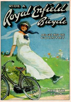 vintage ad Bicycle Royal Enfield - Get into the Country! (It's an Enfield -- MADE LIKE A GUN)
