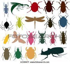シルエット, の, 昆虫, の, 別, colour., a, ベクトル, イラスト 拡大クリップアートを見る