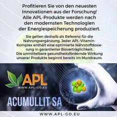 Acumullit SA (Technologie der Energiespeicherung)  ist eine innovative Technologie, die es Ihnen ermöglicht, den notwendigen Vitamin-Komplex mit Freude und größtmöglichen Nutzen einzunehmen. Keine Gläser, Pillen und Kapseln, verdünnte Säfte, ineffektive Sprays und Cremés - nur leckere, mit nützlichen Substanzen aus Früchten und Pflanzen bestehende Drageés. APL erreichte u.a. einen Durchbruch im Bereich der gesunden Ernährung, indem sie ihre Produkte unglaublich lecker und sehr einfach…