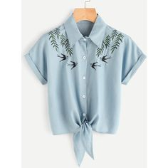 Tie Front Swallows Embroidered Denim Shirt ($11) ❤ liked on Polyvore featuring tops, blue, shirt top, embroidered top, embroidery shirts, embroidered shirts and embroidered denim shirt