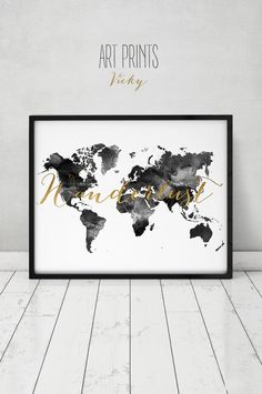 Wanderlust, World map watercolor print, world map poster, travel map, black & white with faux gold text, wedding guest book, ArtPrintsVicky. by ArtPrintsVicky on Etsy https://www.etsy.com/listing/253391538/wanderlust-world-map-watercolor-print