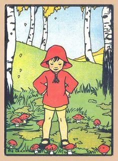 Meisje en paddestoelen Rie Cramer