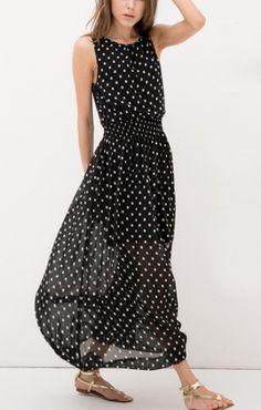 Love Polka Dots! Polka Dots Print Black Sleeveless Chiffon Summer Maxi Dress #Polka_Dots #Maxi_Dress #Fashion