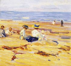 Helen McNicoll, On the Beach, c. 1910, oil on canvas, 41 x 46 cm, private collection. McNicoll produced at least two versions of this painting, as well as many other beach-themed works. #ArtCanInstitute #CanadianArt