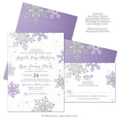 Purple Silver White Snowflake Winter Wedding Invitation and RSVP Reply Card. This listing is for printed invitations and reply cards. Prices include priority shipping and envelopes. Multiple paper types to choose from.   #winterwedding #weddings #weddinginvitations