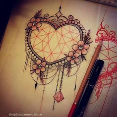 Image result for heart tattoo flowers sophie adamson