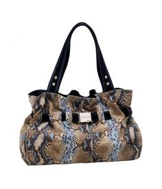 DESCRIPTION: Snake print big bag with magnet closure. The front belt loop and leather combined. Silver metal parts. Interior zip pocket and two small pockets, one for mobile. Interior made of cloth. To wear on shoulder.    MEASURES (H x W x depths in cm):    29 x 43 x 16    COMPOSITION    100% Bovine