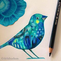 Blue bird - coloured pencil by Debi Hudson