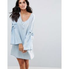 Influence Flare Sleeve V Neck Chambray Dress ($26) ❤ liked on Polyvore featuring dresses, blue, tea dresses, blue jersey, ruffle dress, long blue skirt and tea party dresses